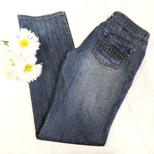 Kenneth Cole Gray Blue Distressed Stud Jeans SZ 28